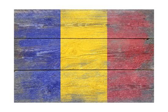 Romania Country Flag - Barnwood Painting-Lantern Press-Art Print