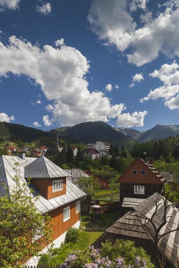 Romania, Maramures, Statiunea Borsa, Ski Resort, Spring, Village View-Walter Bibikow-Photographic Print