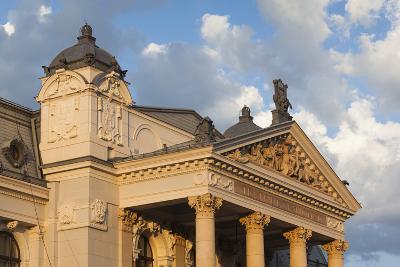 Romania, Moldavia, Iasi, Vasile Alecsandri National Theater at Sunset-Walter Bibikow-Photographic Print