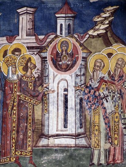 Romania, Moldovita Monastery Depicting Virgin Mary Asking for Construction of Monastery--Giclee Print