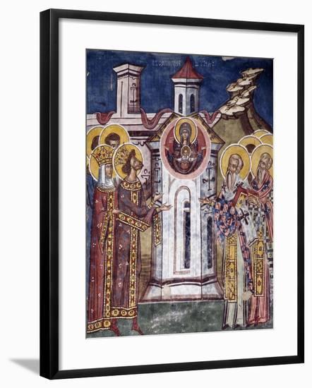 Romania, Moldovita Monastery Depicting Virgin Mary Asking for Construction of Monastery--Framed Giclee Print