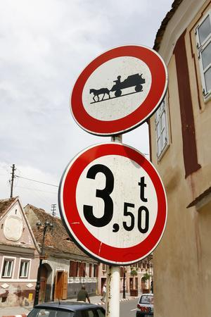 Romania, Road Signs, Ban Sign for Horses and Carts- Fact-Photographic Print