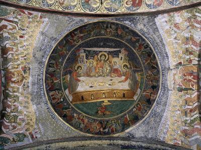 Romania, Sucevita Monastery Depicting Hospitality of Abraham--Giclee Print