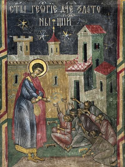 Romania, Sucevita Monastery Depicting St George Giving Alms, Detail from Life of St George--Giclee Print