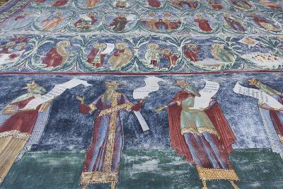 Romania, Sucevita, Sucevita Monastery, Exterior Religious Frescoes-Walter Bibikow-Photographic Print