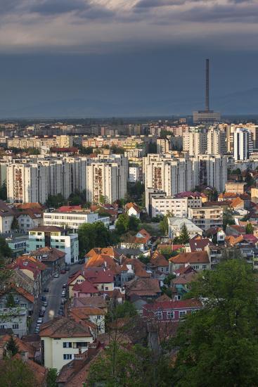 Romania, Transylvania, Brasov, City and Cet Brasov Energy Plant-Walter Bibikow-Photographic Print