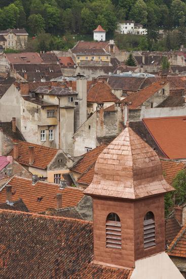 Romania, Transylvania, Brasov, Elevated View of Town Buildings-Walter Bibikow-Photographic Print