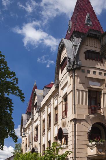 Romania, Transylvania, Buildings Along Piata Trandafirilor Square-Walter Bibikow-Photographic Print
