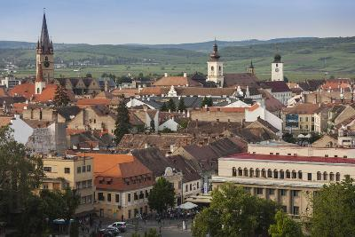 Romania, Transylvania, Sibiu, Elevated City View, Late Afternoon-Walter Bibikow-Photographic Print