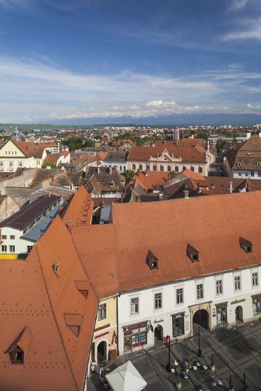 Romania, Transylvania, Sibiu, Elevated Town View from Council Tower-Walter Bibikow-Photographic Print
