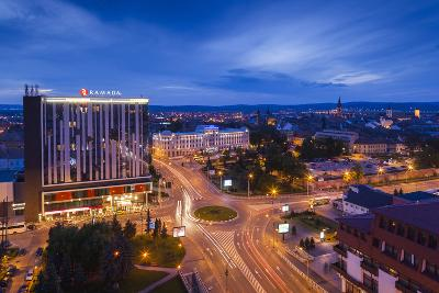 Romania, Transylvania, Sibiu, Overlooking Piata Unirii Square at Dusk-Walter Bibikow-Photographic Print