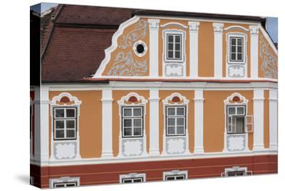 Romania, Transylvania, Sibiu, Piata Mare Square, Building Detail-Walter Bibikow-Stretched Canvas Print