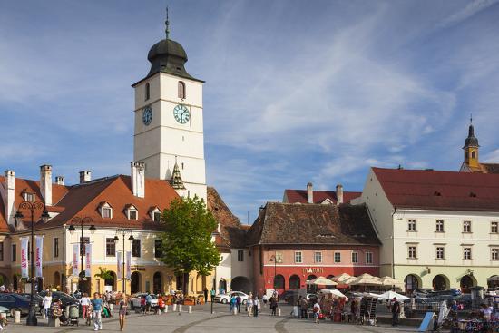 Romania, Transylvania, Sibiu, Piata Mica Square and Council Tower-Walter Bibikow-Photographic Print