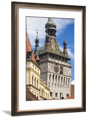 Romania, Transylvania, Sighisoara, Clock Tower, Built in 1280, Daytime-Walter Bibikow-Framed Photographic Print