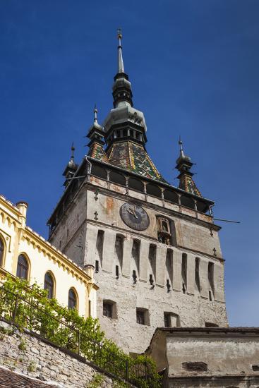 Romania, Transylvania, Sighisoara, Clock Tower, Built in 1280, Morning-Walter Bibikow-Photographic Print