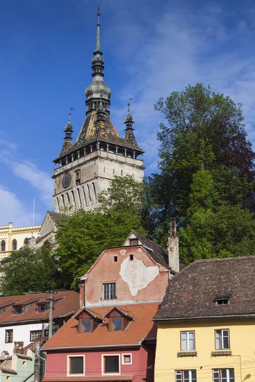 Romania, Transylvania, Sighisoara, Clock Tower, Built in 1280, Morning-Walter Bibikow-Photographic Print