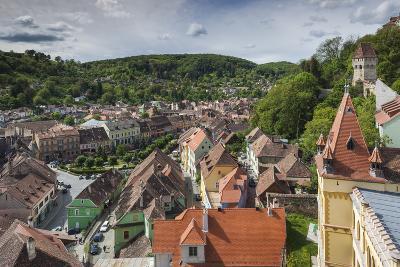Romania, Transylvania, Sighisoara, Elevated City View from Clock Tower-Walter Bibikow-Photographic Print