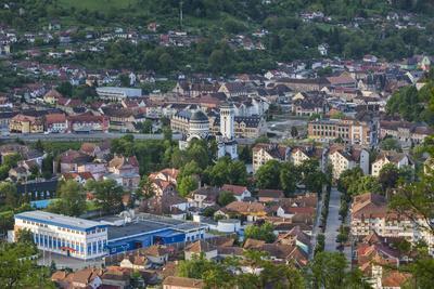 Romania, Transylvania, Sighisoara, Elevated Town View, Dawn-Walter Bibikow-Photographic Print