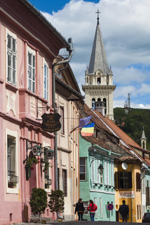 Romania, Transylvania, Sighisoara, Piata Cetatii, Old Town Buildings-Walter Bibikow-Photographic Print