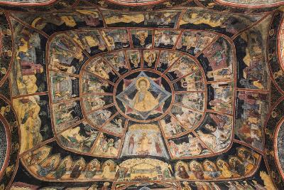 Romania, Transylvania, Sinaia, Sinaia Monastery, Small Church, Exterior Frescoes-Walter Bibikow-Photographic Print