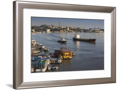 Romania, Tulcea, Freighter on the Danube River at Dawn-Walter Bibikow-Framed Photographic Print