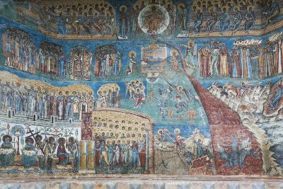 Romania, Voronet, Voronet Monastery, Frescoes Done in Voronet Blue-Walter Bibikow-Photographic Print