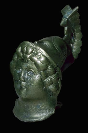 Romano-British copper alloy head of Minerva with Corinthian helmet. Artist: Unknown-Unknown-Giclee Print