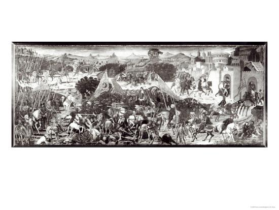 Romans and Gauls Fighting or the Battle in Front of the Gates of Rome-Paolo Uccello-Giclee Print