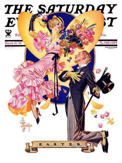 """Romantic Easter,"" Saturday Evening Post Cover, March 31, 1934-Joseph Christian Leyendecker-Giclee Print"