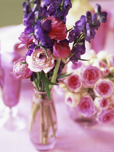 Romantic Floral Decoration and Champagne Glasses-Michael Paul-Photographic Print