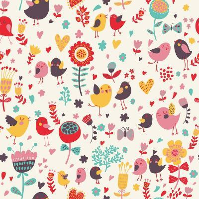 Romantic Floral Pattern with Cute Small Birds in the Garden-smilewithjul-Art Print
