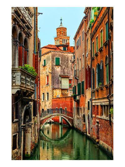 Romantic Green Venice Canal--Art Print