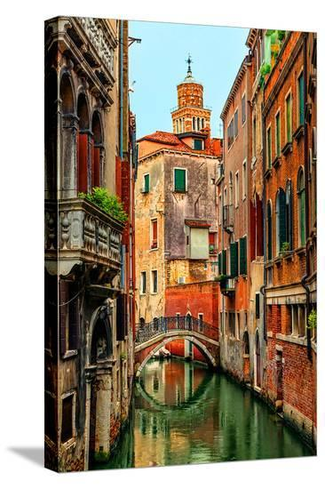Romantic Green Venice Canal--Stretched Canvas Print