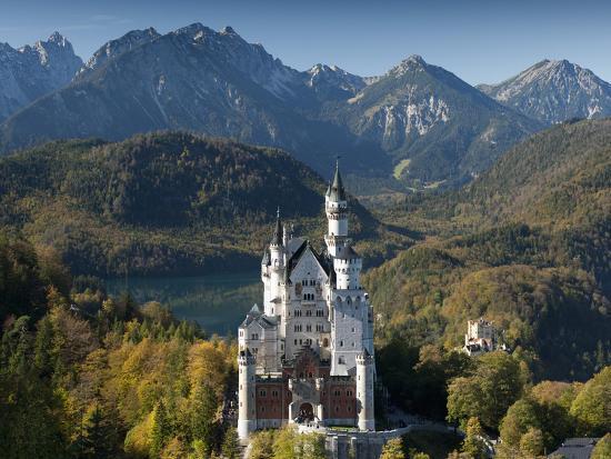 Romantic Neuschwanstein Castle and German Alps in Autumn, Southern Part of Romantic Road, Bavaria, -Richard Nebesky-Photographic Print