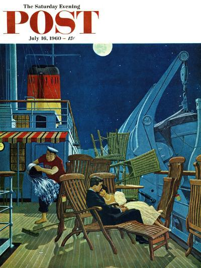 """""""Romantic Night on Deck,"""" Saturday Evening Post Cover, July 16, 1960-James Williamson-Giclee Print"""