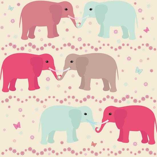 Romantic Seamless Pattern with Elephants-elein-Art Print