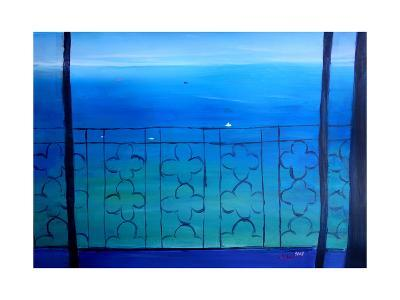 Romantic Seaview Balcony in the Mediterranean-Markus Bleichner-Art Print