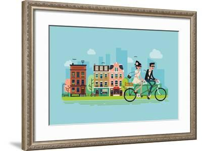 Romantic Vector Concept Illustration on Couple Going Outdoors Riding Bicycle. Young Adult Couple Ri-Mascha Tace-Framed Art Print