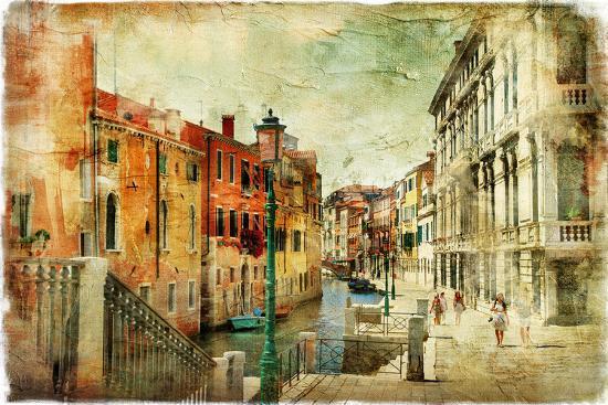 Romantic Venice - Artwork In Painting Style-Maugli-l-Premium Giclee Print