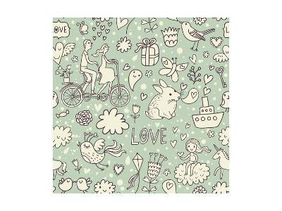 Romantic Vintage Seamless Pattern. Cute Cartoon Illustration in Vector. Rabbits, Couple of Lovers,-smilewithjul-Art Print