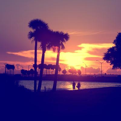 Romantic Walk along the Ocean at Sunset-Philippe Hugonnard-Photographic Print