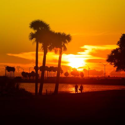 Romantic Walk along the Ocean at Sunset-Philippe Hugonnard-Photographic Print