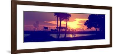 Romantic Walk along the Ocean at Sunset-Philippe Hugonnard-Framed Photographic Print