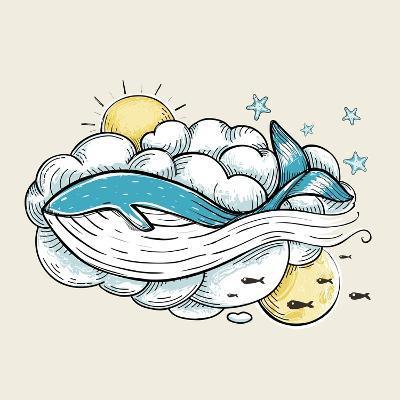 Romantic Whale Swimming in Clouds Retro Design. Hand Drawn Textured Vintage Print. Vector Illustrat-Popmarleo-Art Print