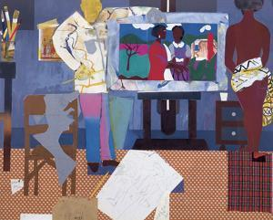Profile/Part II, The Thirties: Artist with Painting and Model, c.1981 by Romare Bearden