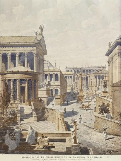 Rome, Ideal Reconstruction of the Roman Forum, the Temple of Vesta by J. Hofbauer, 1911--Giclee Print