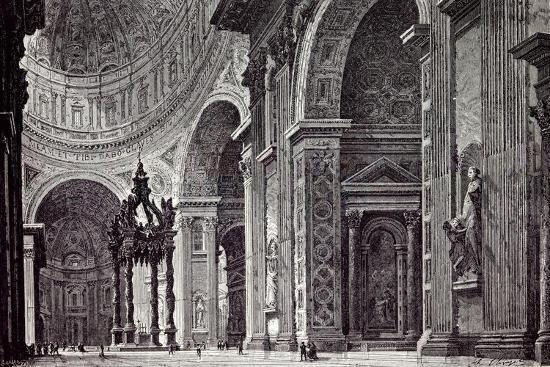 Rome Italy 1875 Interior of St. Peter's View Taken from Left Transept--Giclee Print