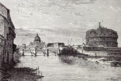 Rome Italy 1875 Mole of Adrian Banks of the Tiber Between Ripetta and the Bridge Od St. Angelo--Giclee Print