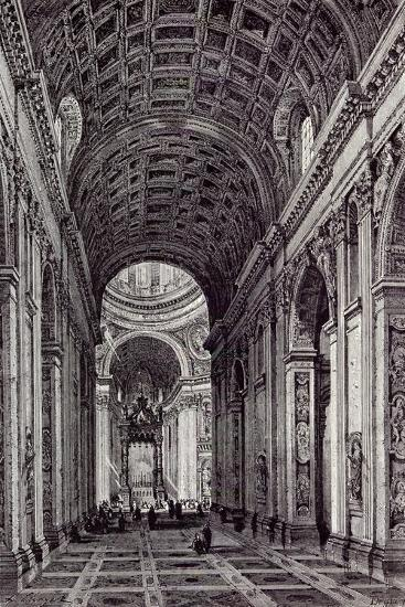 Rome, Italy, 1875, Nave of St. Peter's--Giclee Print