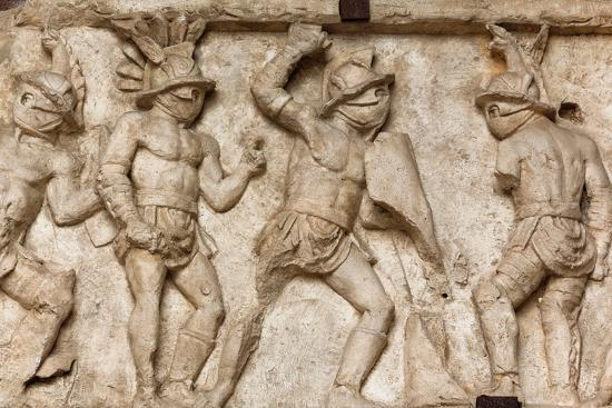 Rome Italy Bas Relief In The Colosseum Of Gladiators Fighting Photographic Print Art Com
